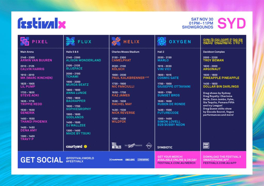festival x sydney set times